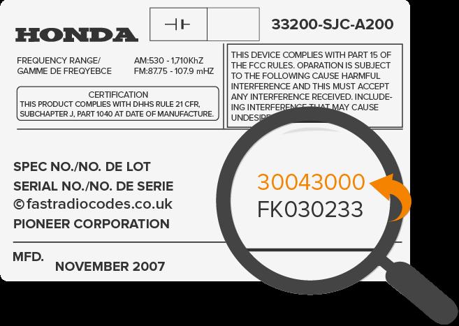 Find honda radio code serial number