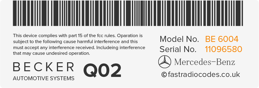 Find mercedes radio code serial number