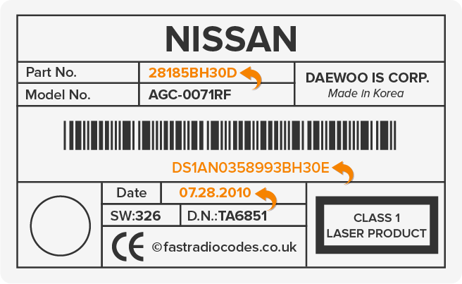 Nissan Daewoo Serial Number Label