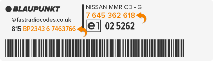 Nissan Blaupunkt Radio Code Serial Label | BP