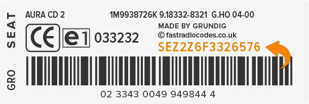 Seat Radio Code Serial Label | SEZ