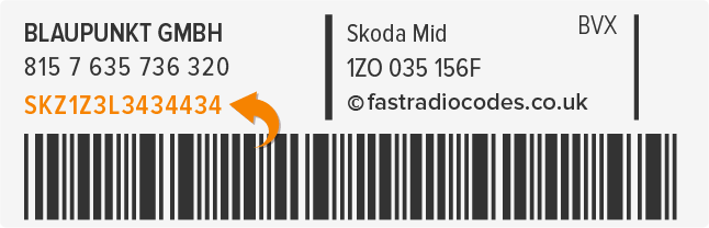 Skoda Radio Code Serial Label | SKZ