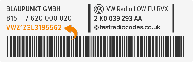 VW Radio Code Serial Label | VWZ | Volkswagen